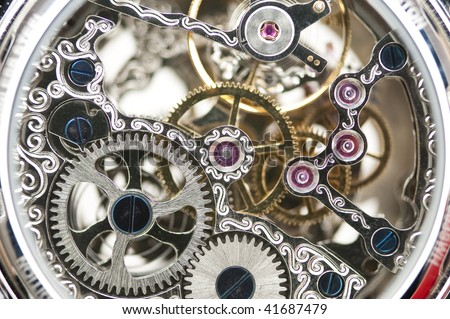 close up of a mechanical clockwork - stock photo