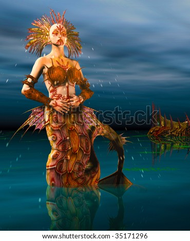 Close up of a Mermaid dressed in armor seashells rising out of the ocean at night. Illustration