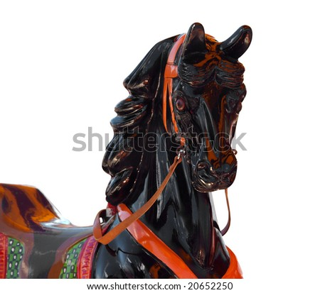 Close up of a Merry-Go-Round Horse isolated with clipping path