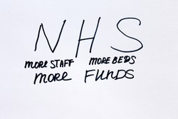 Close-up of a message NHS more staff more beds More Funds. Handwritten on a white background.