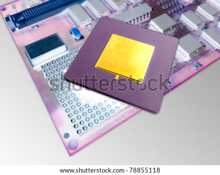 Close up of a microprocessor and socket