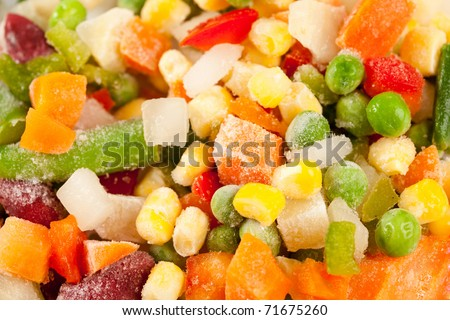 Close up of a mix of frozen vegetables ready to be cooked