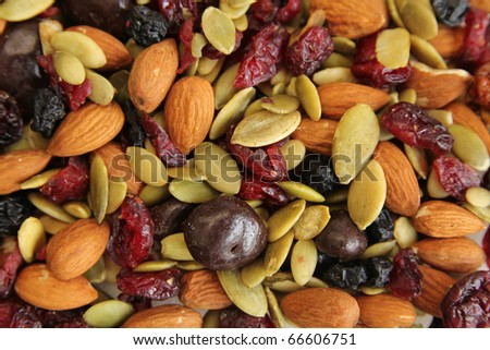 Close up of a mixed of nuts, dry fruits and chocolate