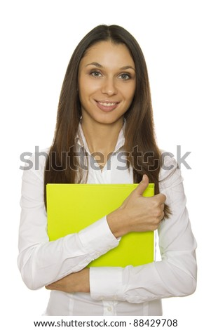Close-up of a modern attractive business woman with folder. Isolated on a white background