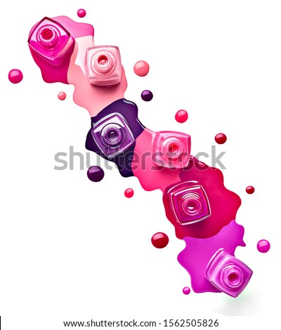 close up of  a nail polish bottle and drop on white background Stock photo ©