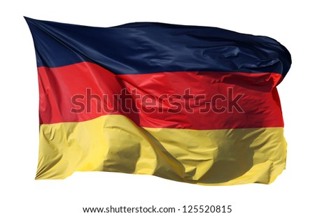 Close-up of a national flag of Germany, isolated on white background - stock photo