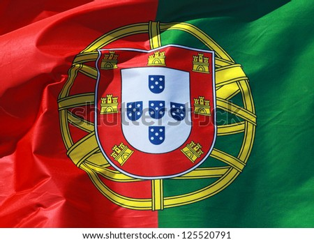Close-up of a national flag of Portugal