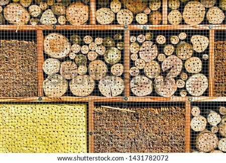 Close-up of a nesting aid for insects ( insect hotel) #1431782072
