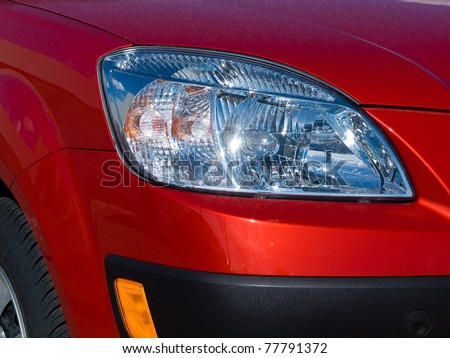 Close Up of a New Car Headlight