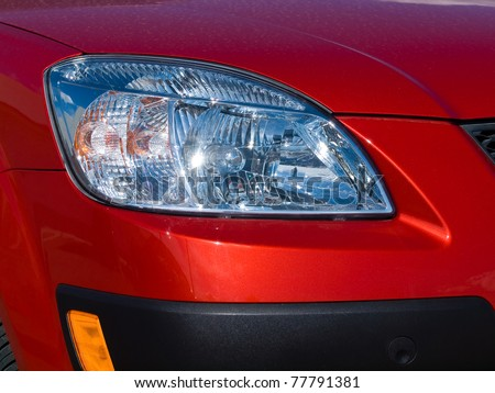 Close Up of a New Car Headlight