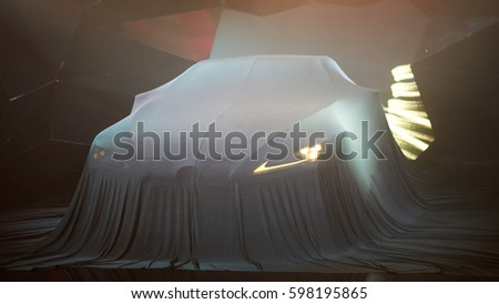 Close up of a new car hidden under cover.