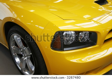 Close-up of a new modern muscle car