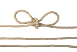 Close-up of a node or knot and two ropes isolated on a white background. Navy and angler knot.