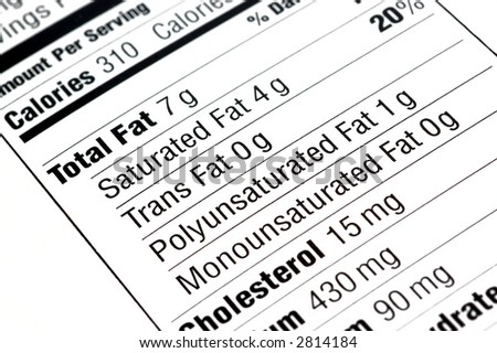close up of a nutritional label centered on fat content