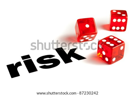Close up of a pair of transparent dice on  word risk