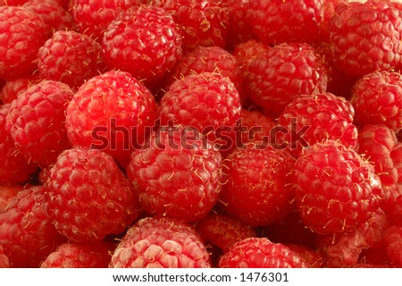Close up of a panier of ripe raspberries, ready to eat. - stock photo