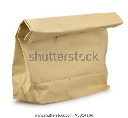 Close up of a paper bag isolated on white background