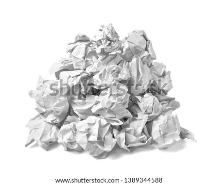 close up of  a paper ball trash on white background #1389344588
