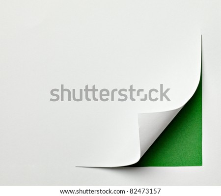 close up of  a paper with curled edge on white background