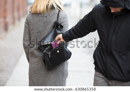 Close-up Of A Person Stealing Purse From Handbag