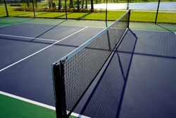 Close up of a Pickleball Pickle ball Court and Net.