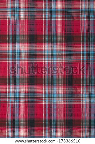 Close-up of a piece of red checked fabric