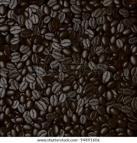 close up of a pile of coffee beans (3d render)