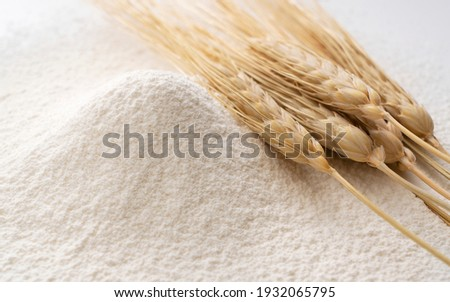 Close-up of a pile of flour and ears of wheat after sifting. Flour concept, material photo Foto stock ©