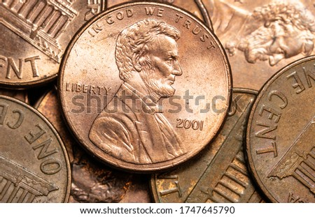 Close up of a pile of pennies Stockfoto ©