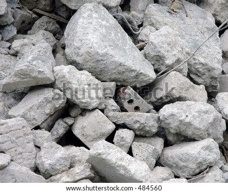 Close up of a pile of rubble from demolished building - stock photo