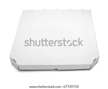 close up of a pizza  box  on white background with clipping path
