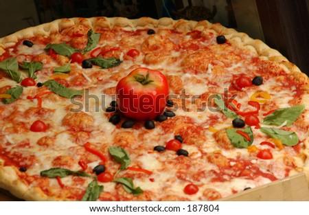 Close-up of a pizza, Siena, Tuscany, Italy,