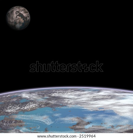close up of a planet with a moon rising in the west