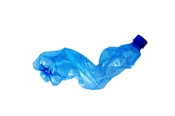 Close up of a plastic bottle isolated on white background. Recycling concept. Used plastic bottle crushed and crumpled against on the white background. Ocean pollution, save the earth concept.