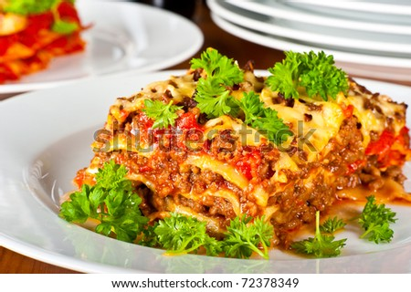 Close up of a plate with lasagne