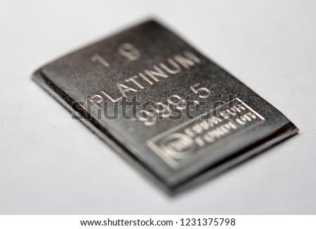 Close-up of a Platinum bar #1231375798