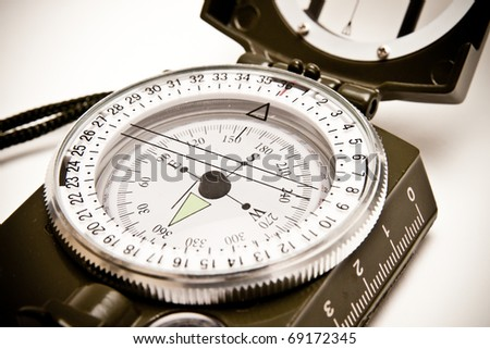 Close-up of a professional compass for outdoors activity
