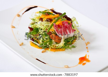 close-up of a professionally prepared food