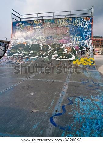 Close up of a ramp at a skate park