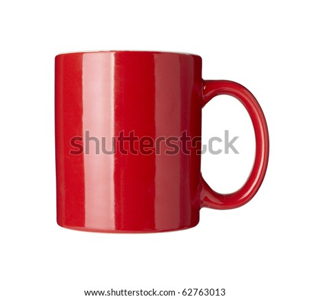 close up of  a red coffee cup on white background  with clipping path
