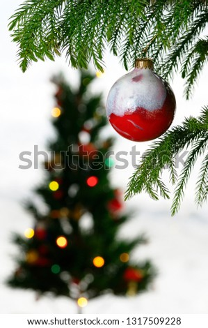 Close up of a red glass ball ornament hanging from a pine with blurred Christmas tree on white