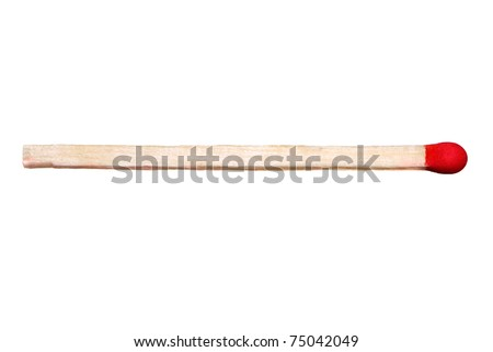 Close-up of a red match isolated on a white background - stock photo