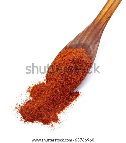 close up of  a red pepper powder on white background