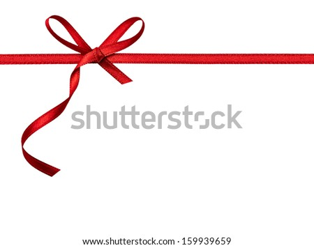 close up of a  red ribbon bow on white background #159939659