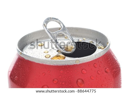 Close Up of a Red Soda Can with Pull Tab open with condensation