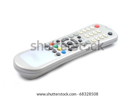 close up of a remote control on white background with clipping path