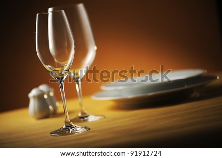 close up of a restaurant table, with a soft light
