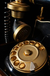 Close-up of a retro phone with dialer