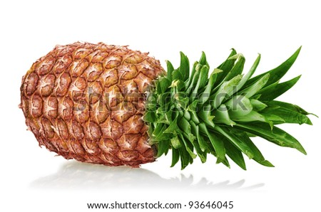 close up of a ripe pineapple isolated on white background - stock photo