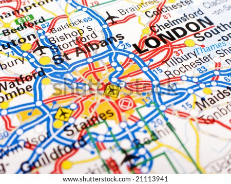 Close up of a road map of London